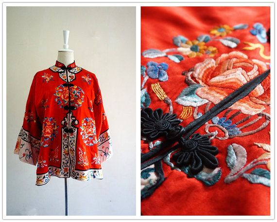 Luxury Embroider Red Silk Robe . Vintage Rare Antique by SophieZh