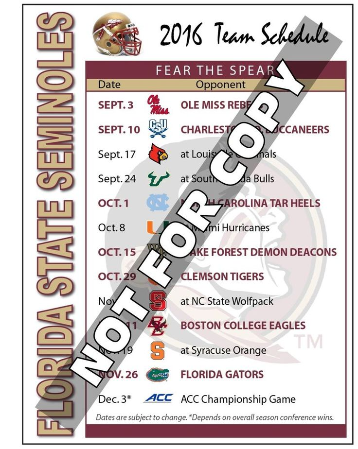 2016 Florida State Seminoles Football Schedule Magnet - (High Quality Magnet)…
