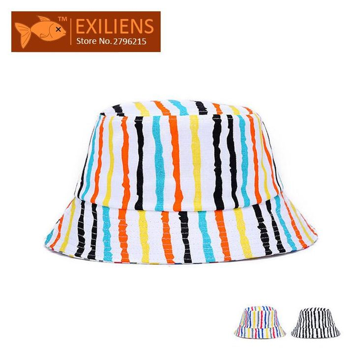 [EXILIENS] 2017 Fashion Brand Bucket Hats Cotton Color bars Casual Fisherman Caps Hip-hop Hats For Men Women Lovely Striped Hat