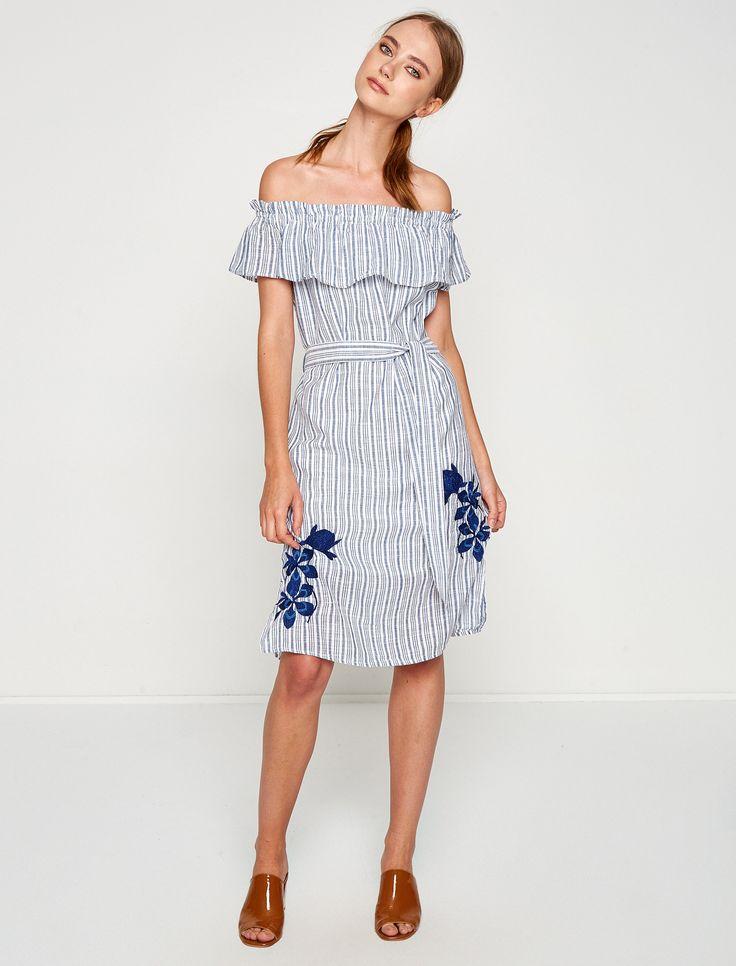 Mavi Çizgili Bayan İşlemeli Elbise 7YAK83085QW01J | Koton