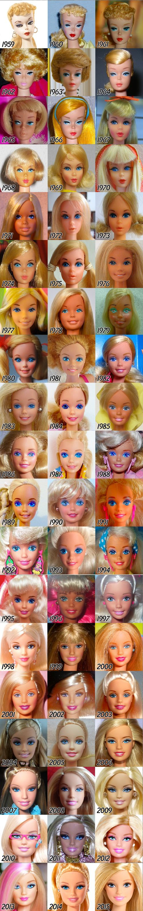 Barbie evolution via http://tenaflyviper.tumblr.com/post/125639467465/i-was-curious-as-to-exactly-how-barbies-face-has