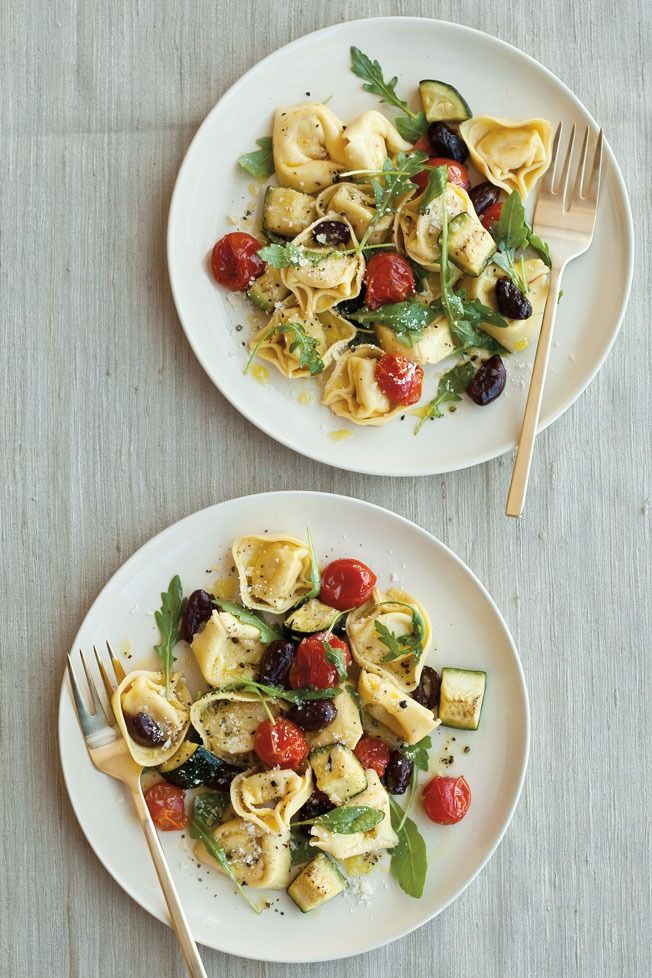 Cheese Tortellini Salad Recipe | This easy, vegetarian pasta dish features summer squash and tomatoes that are just coming into season. Arugula adds a peppery bite.