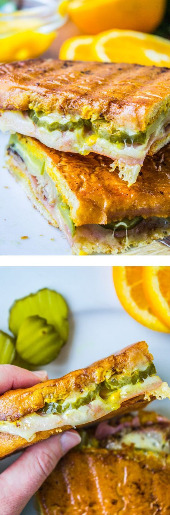 Cuban Sandwiches (Cubanos) from The Food Charlatan // The classic, filled with mojo pork, swiss, pickles, and tons of mustard! (Cuban Sandwich Recipes)