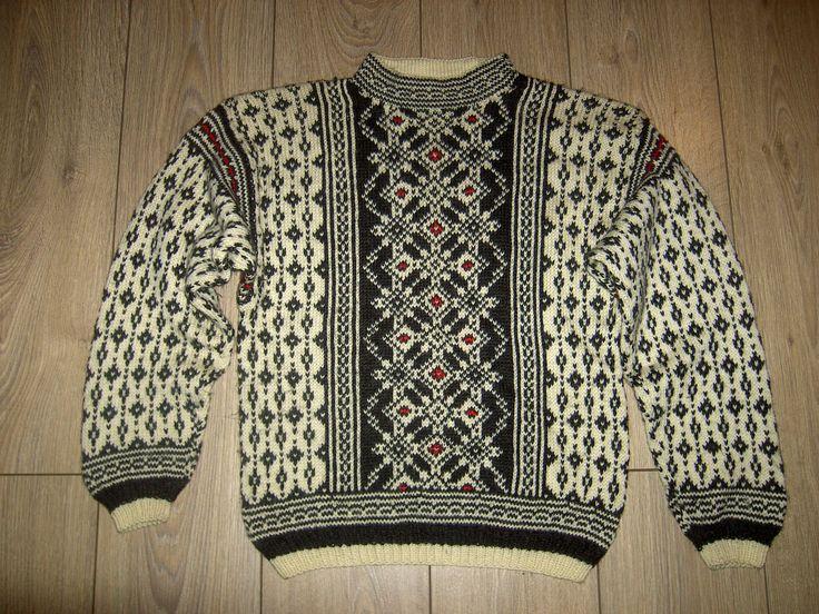 Vintage Handmade Nordic Norwegian Ski Jumper Wool Xmas Christmas Sweater M | eBay