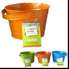 Twigz children's gardening buckets are a strong steel construction with a riveted swivel handle with a 2.5 litre capacity. The squat shape and large rim of the bucket make is easy for children to fill up and hard for children to tip over when placed on the ground.    These buckets are not only perfect for gardening they are ideal for taking on outings to the beach and park.  $10.95
