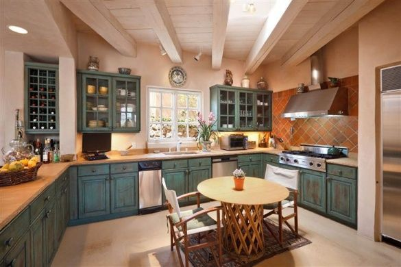 Agnes Sims House Santa Fe NM Adobe Kitchen Teal Cabinets