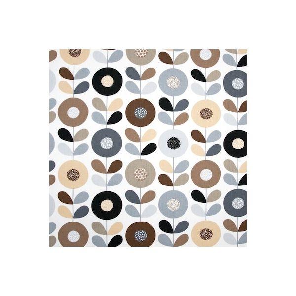 Tissu en coton à fleurs gris, beige, bleu et brun sur fond blanc