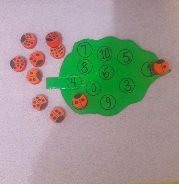 kartonból anyag (lemez) és kupakok (katicabogarak) együtt kell működnie a számok és mennyiségek