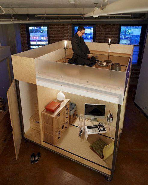 Kantoor, bed en meditatie in 3 m²?