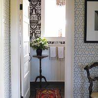 Philip Gorrivan Design - bathrooms - geometric wallpaper, blue geometric wallpaper, white and blue wallpaper, white and blue geometric wallp...