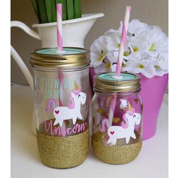Unicorn Kids Tumbler //Mason Jar Tumbler//Personalized Tumbler//Glitter Dipped Tumbler// Kids Sippy Tumbler