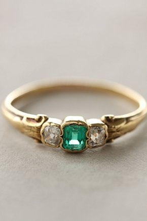 https://www.bkgjewelry.com/emerald-rings/594-18k-yellow-gold-diamond-emerald-solitaire-ring.html Antique emerald and diamond ring My birthstone.
