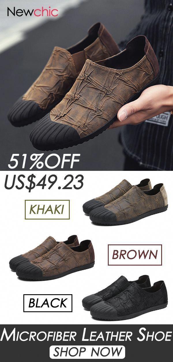 f7a47c719265  51%OFF Men Microfiber Leather Slip Resistant Casual Shoes mens  fashion