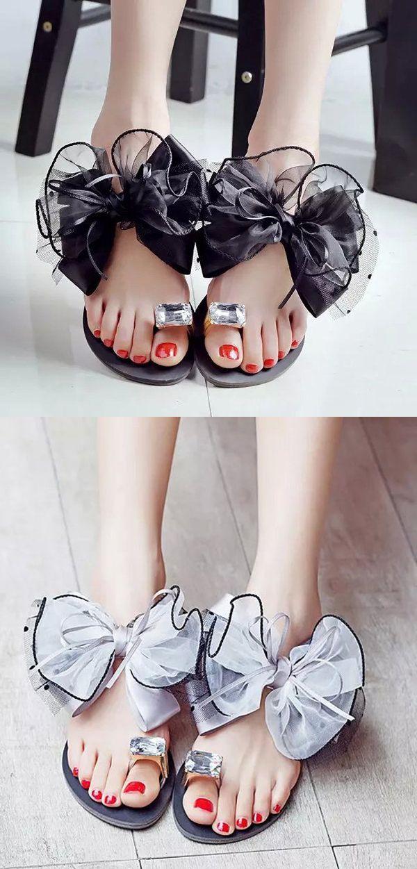 $11.90 Big Size Butterflyknot Lace Bead Crystal Clip Toe Flat Flip Flops Sandals,Beach Sandals,Summer Sandals,Summer Shoes,Women Sandals,Flat Sandals