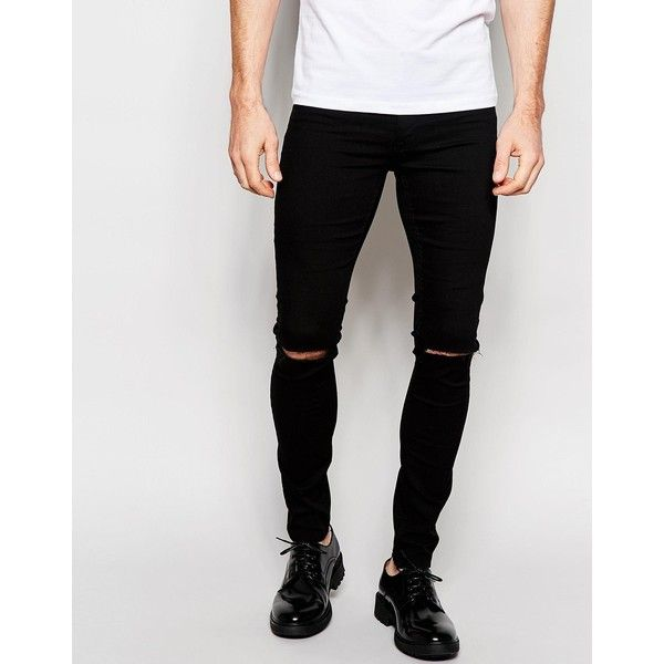 ASOS Spray On Jeans With Knee Rip In Black ($41) ❤ liked on Polyvore featuring men's fashion, men's clothing, men's jeans, black, mens ripped skinny jeans, mens skinny fit jeans, mens ripped jeans, mens distressed skinny jeans and mens skinny jeans