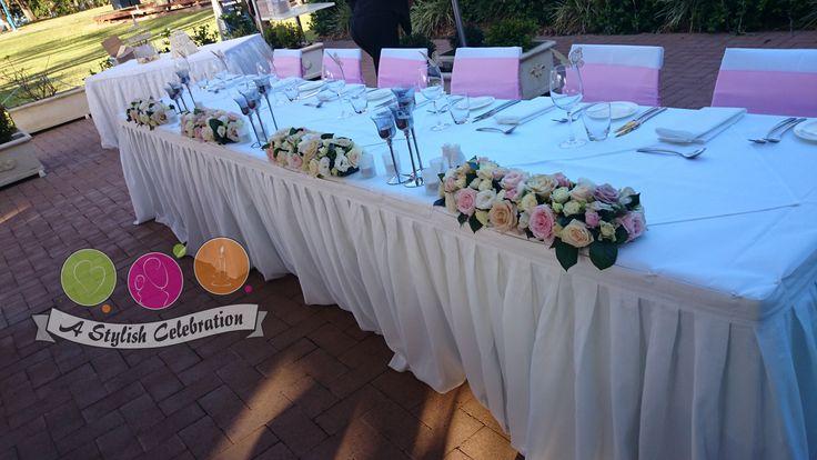 Vintage wedding bridal table. Soft and elegant feel. #elegant #vintage #awesome #love #wedding #bride #roses #freshslowers #astylishcelebration www.astylishcelebration.com.au