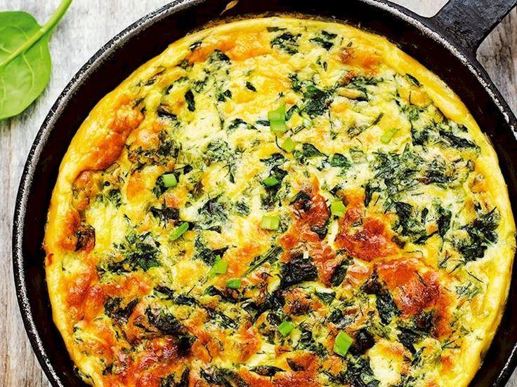 Keçi peynirli ve ıspanaklı omlet