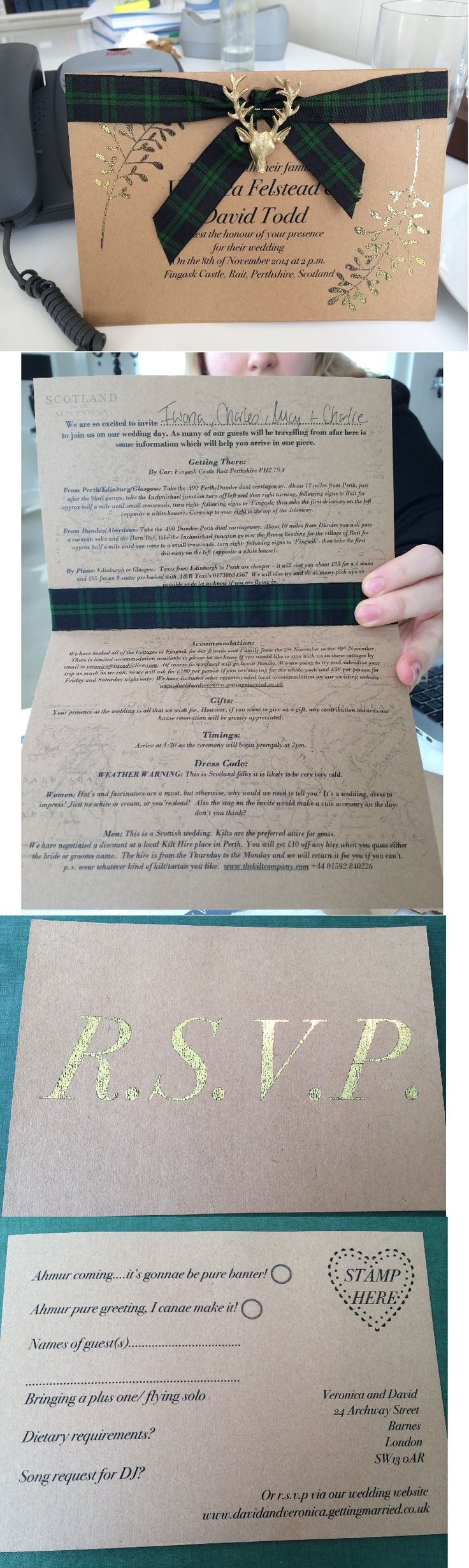 DIT Scottish Gold Wedding Invitation Black Watch Tartan. These wedding invitations are exactly the type of thing I'd want to go for.