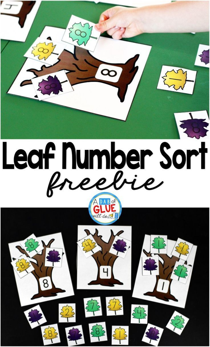 Leaf Number Sort! Great way to practice learning numbers. This math center is perfect for preschool and kindergarten students.