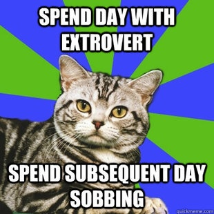 Definitely not all extroverts do this to me, but the people who hurt my feelings or exhaust me the most always happen to be extroverts.