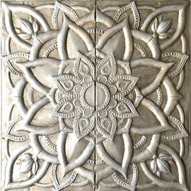 Cuadros plateados originales y muy decorativos, de estilo étnico con relieve en metal, acabado plata champán, este cuadro es perfecto para el salón, dormitorio, sofá
