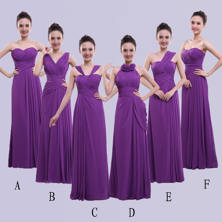 PotN'Patio 2017 New Hight Quality Floor-Length Chiffon Convertible Purple Bridesmaid Dresses Long Plus Size