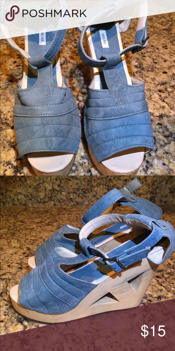 Kimchi Blue wedges Kimchi Blue baby blue wedge with cute cut out detailing on the wedge. Never been worn. Kimchi Blue Shoes Wedges