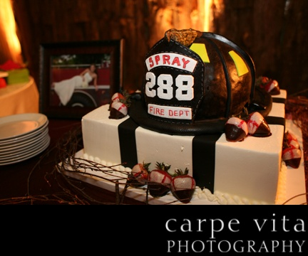 trying to decide if the groom's cake should me firefighter theme or nascar theme
