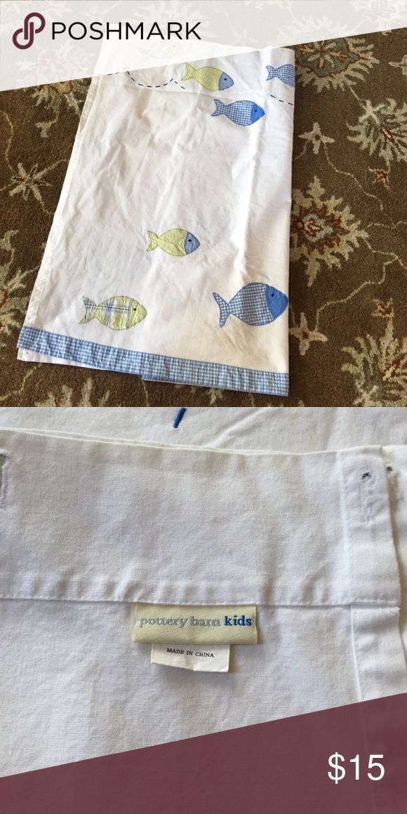 Pottery Barn Kids shower curtain Pottery Barn Kids gentler used shower curtain - white w blue/green embroidered fish. Super cute. Must go!  Indoor yard sale. Pottery Barn Kids Other