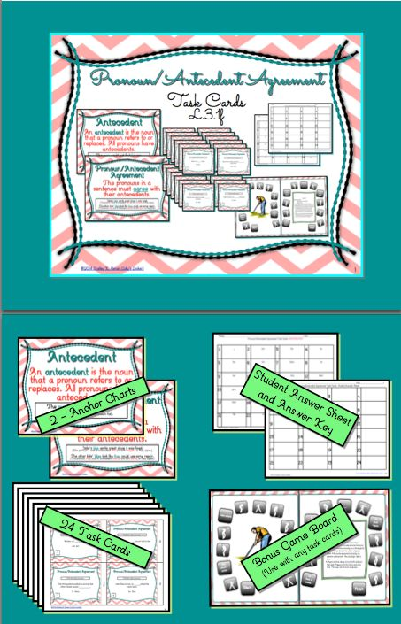 Pronoun Antecedent Agreement Task Cards Student The O