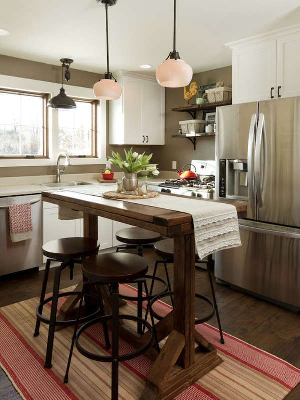 15 Small Kitchen Island Ideas That Inspire Kitchen Island Table Small Kitchen Design Small Small Kitchen Tables