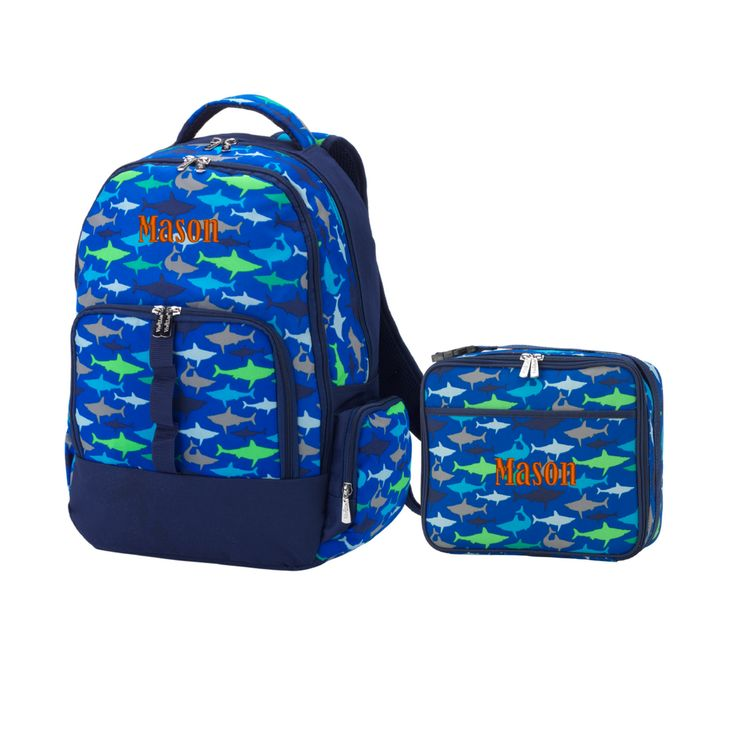 Personalized Matching Boys Backpack & Lunch Bag Shark Blue Gray