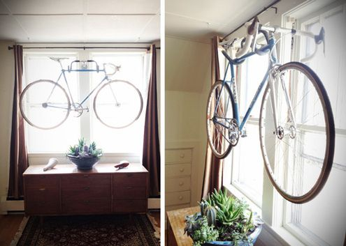 Wall-Mounted Bike Hanger from Drop Handlebars: Ideas, Bike Hangers, Storage Solutions, Bicycles Storage, Diy'S, Diy Handlebar Bike Racks, Diy Wall, Diy Bike, 20 Diy