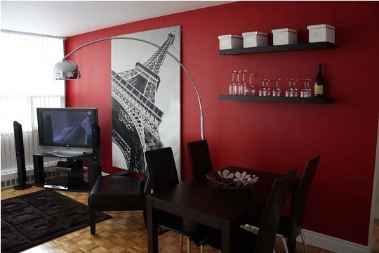 Red rooms: I like how warm this looks, with our black furniture this would be great for our home office.