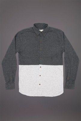 WEMOTO GIFFORD SHIRT BLACK NEP WHITE  WEMOTO A/W 14. 100% cotton two tone shirt.  http://www.abandonshipapparel.com/product/wemoto-gifford-shirt-black-nep-white/