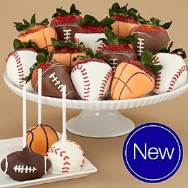 strawberries- TOO CUTE!: Fun Snacks, Favourite Sports, Sports Parties, Sports Snacks, Cute Ideas, Food, Chocolates Strawberries, Chocolates Covers Strawberries, Margaritas Cupcakes