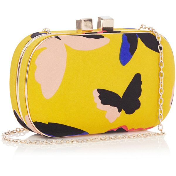 OASIS BUTTERFLY HARDCASE CLUTCH (€30) ❤ liked on Polyvore featuring bags, handbags, clutches, yellow purses, yellow clutches, butterfly handbags, box clutch and oasis handbags