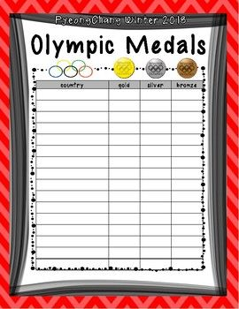 Deepen conversation about numbers when discussing medals won at the Olympics. You can use this poster to compare medals between countries from the 2018 Winter Olympics in PyeongChang. Laminate for repeated use.