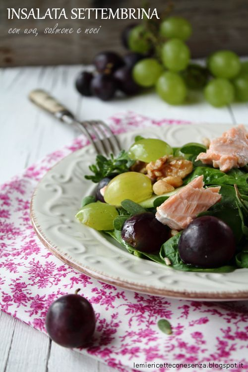 In questo periodo ho tanta voglia di mangiare l'uva, mi è venuta così l'idea di realizzare un'insalata che la contenga, per questo l'ho chiamata settembrina. Per contrastare il sapore dolce dell'uva bianca e nera ho voluto aggiunto delle foglioline dal gusto deciso come lo spinacio e la portulaca, appena raccolta nel mio giardino che ne...Read More »
