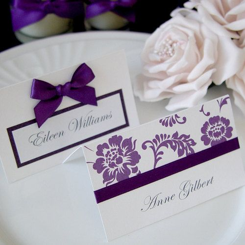 purple wedding reception table decor name place card qty etsy