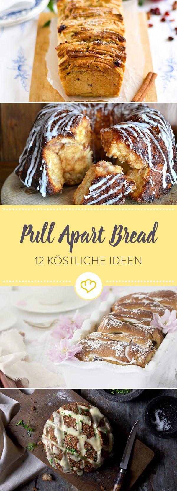 Zupf, zupf, hurra! Diese 12 Ideen für Pull Apart Bread halten mal süß-buttrige Schichten aus Hefeteig, mal krosses Quinoabrot mit Käse für dich bereit.