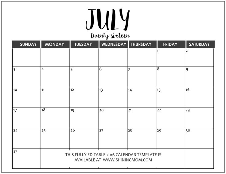 Best 25+ July 2016 calendar template ideas on Pinterest Blank - perpetual calendar template