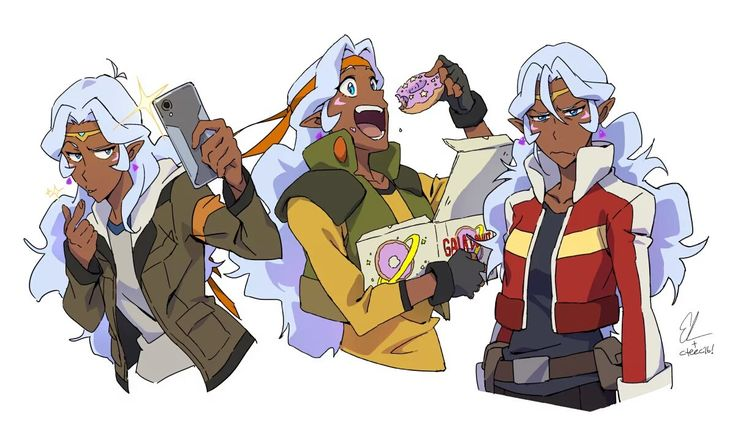 Allura imitating Lance, Hunk, and Keith. XD -- Voltron