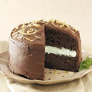 coconut-mint chocolate cake. to cut on time, i might try with just a ...