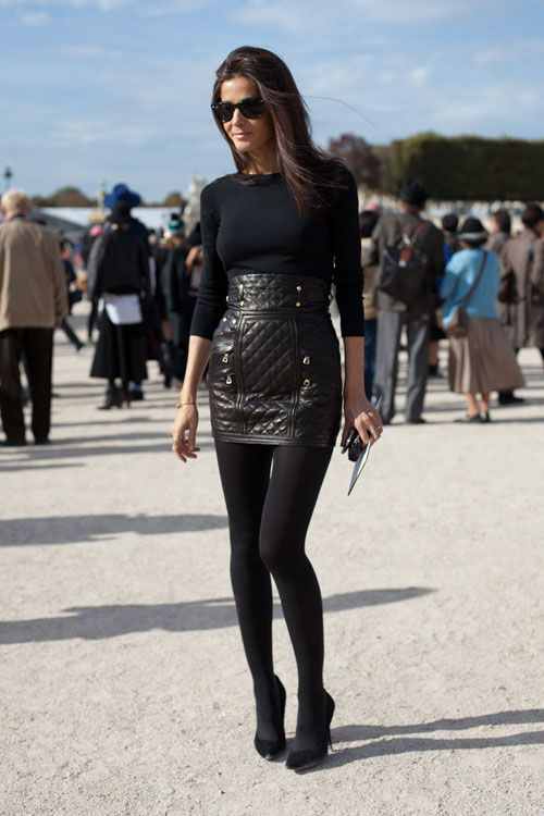 Quilted Leather Skirt - Paris Fashion Week Street Style Spring 2013 -