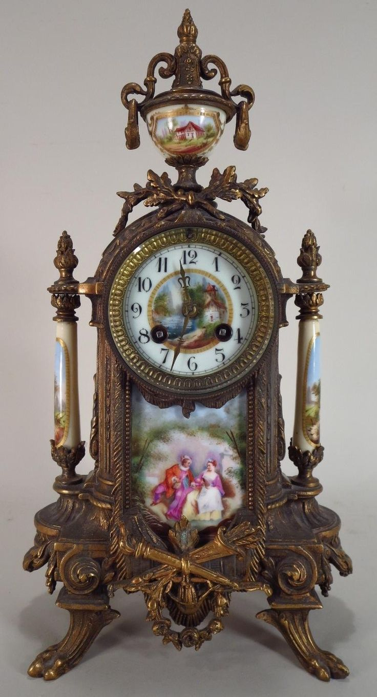french gilt metal and painted porcelain ornate mantel clock early 20th c - Mantel Clock