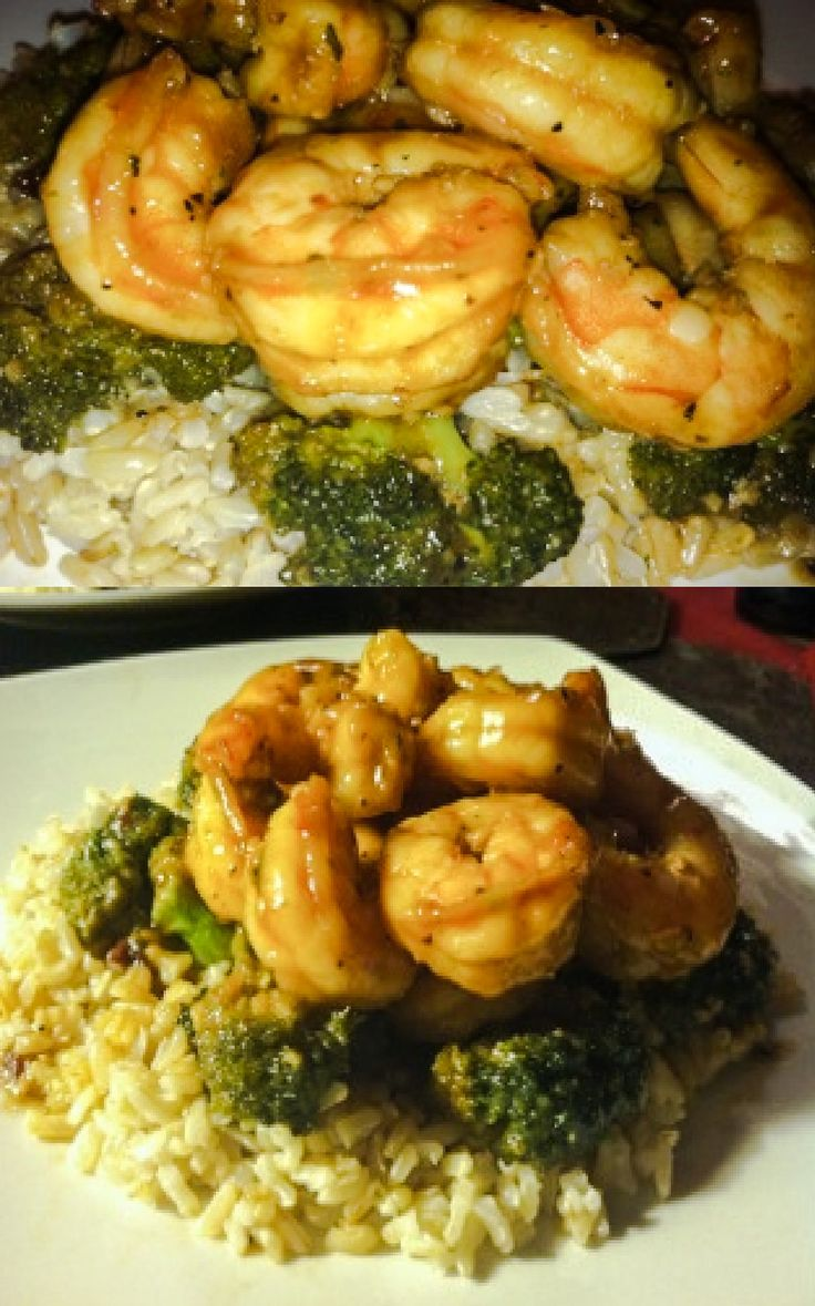 Sesame honey shrimp lightly sauteed with broccoli and served alongside brown rice! Approximately 500 calorie meal!