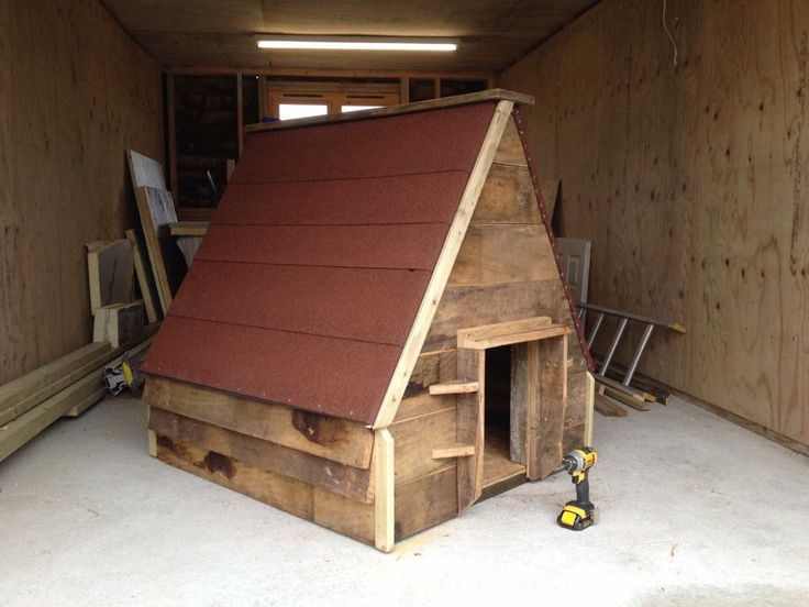 Goose house made from recycled timber.