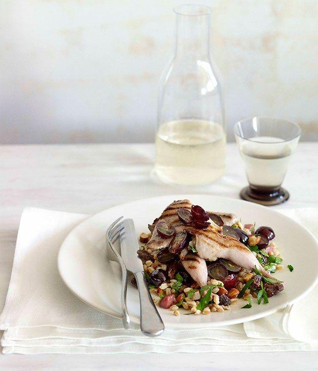 Char-grilled quail, farro and prosciutto salad |