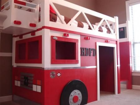 DIY Fire Truck Bed from Ana White's Knock on Wood Brag Board Okay i don't have a little boy to decorate for but this was just too cute an gives u plans to make it!   Race car bed?  I think not!   WAY COOL fire truck bed? YES PLEASE!!!